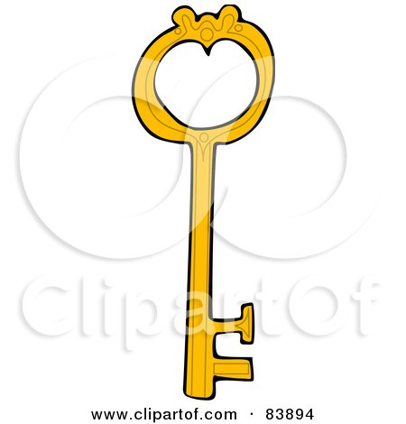 Royalty-Free (RF) Clipart Illustration of a Yellow Skeleton Key With A Heart Shaped Hole by djart