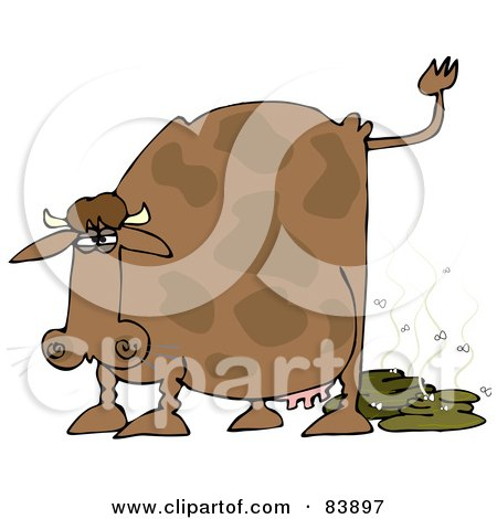 Royalty-Free (RF) Clipart Illustration of a Brown Cow Pooping, With Flies by djart