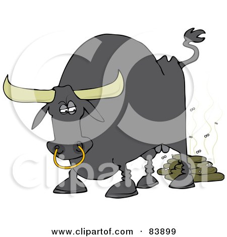 Royalty-Free (RF) Clipart Illustration of a Gray Bull Pooping, With Flies by Dennis Cox