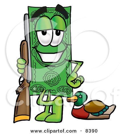 Clipart Picture of a Dollar Bill Mascot Cartoon Character Duck Hunting, Standing With a Rifle and Duck by Toons4Biz