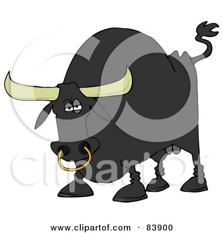 Royalty-Free (RF) Clipart Illustration of a Tough Black Bull With A Nose Ring by djart