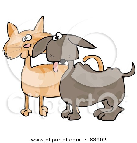Royalty-Free (RF) Clipart Illustration of a Small Dog Panting And Standing Alert With An Orange Cat by djart