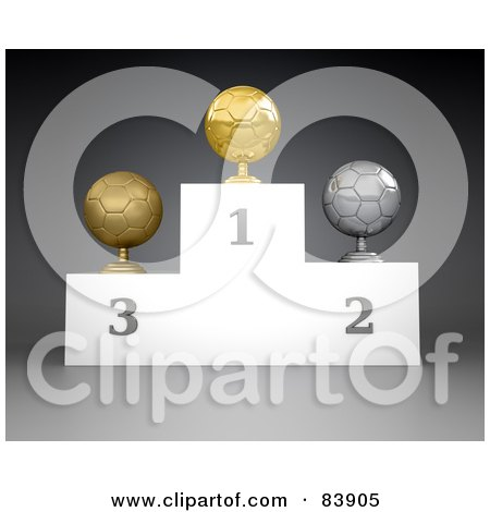 3d Podium Of First, Second And Third Place Soccer Ball Trophies Posters, Art Prints