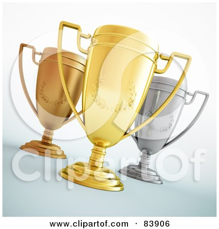 Royalty-Free (RF) Clipart Illustration of Three 3d Gold, Bronze And Silver Trophy Cups With Laurel Designs by Mopic