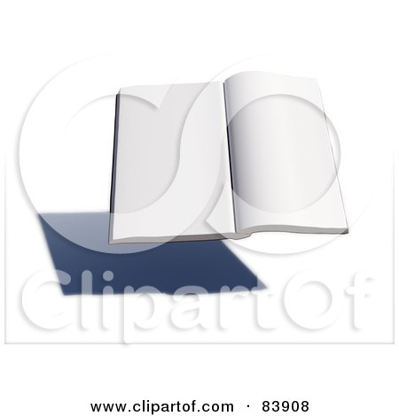 Royalty-Free (RF) Clipart Illustration of a Blank 3d Hovering Book Over A Shadow - Version 3 by Mopic