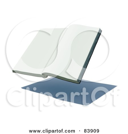 Royalty-Free (RF) Clipart Illustration of a Blank 3d Hovering Book Over A Shadow - Version 1 by Mopic