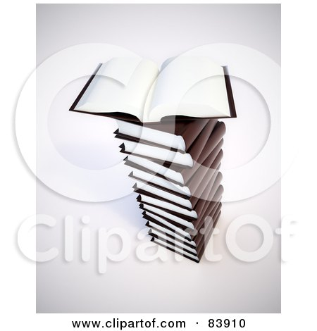 Royalty-Free (RF) Clipart Illustration of a 3d Open Book With Blank Pages On Top Of A Pile Of Brown Books by Mopic