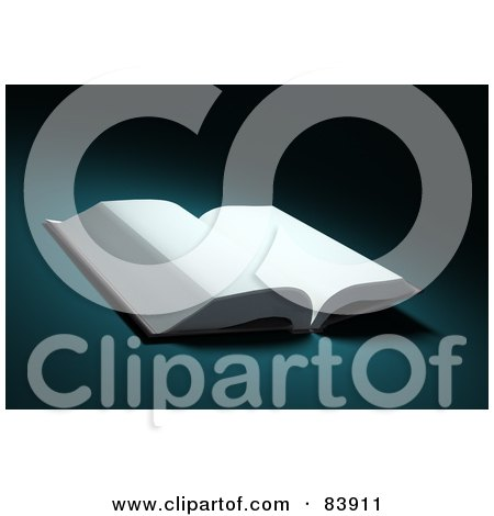 Royalty-Free (RF) Clipart Illustration of a 3d Open Book With Blank White Pages, On A Teal Background by Mopic