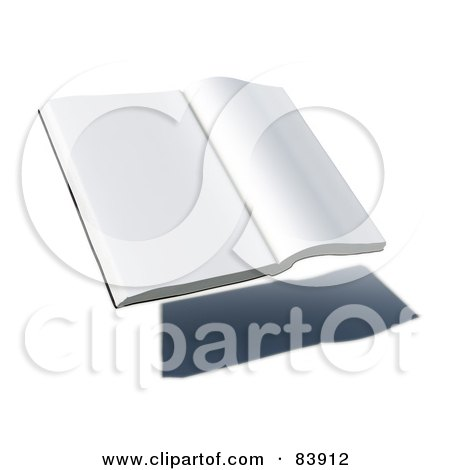 Royalty-Free (RF) Clipart Illustration of a Blank 3d Hovering Book Over A Shadow - Version 2 by Mopic