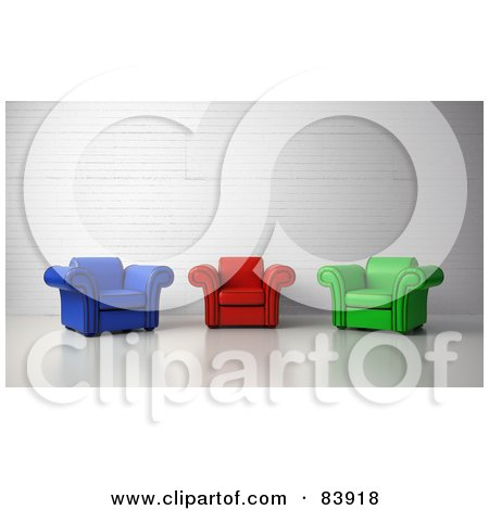 Royalty-Free (RF) Clipart Illustration of 3d Blue, Red And Green Arm Chairs In A Lobby by Mopic