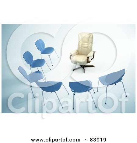 Royalty-Free (RF) Clipart Illustration of a Plush Leather Chair Facing A Half Circle Of Simple Chairs by Mopic