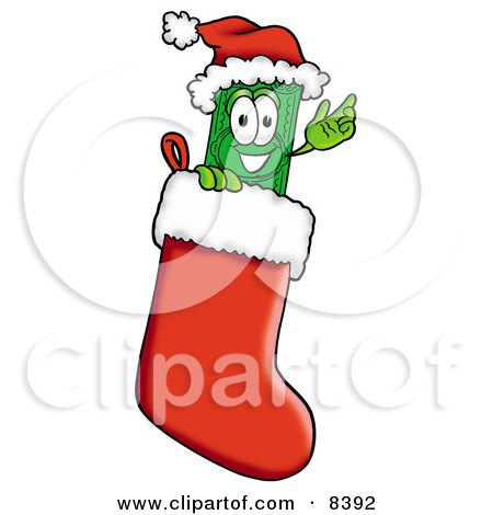 Clipart Picture of a Dollar Bill Mascot Cartoon Character Wearing a Santa Hat Inside a Red Christmas Stocking by Toons4Biz