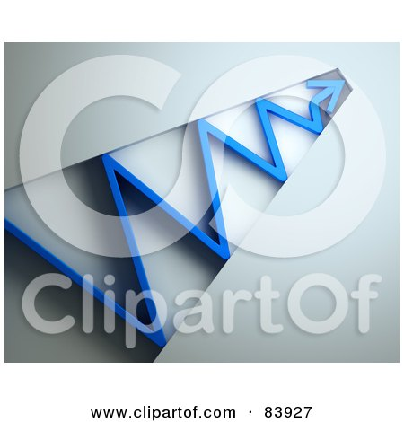Royalty-Free (RF) Clipart Illustration of a 3d Blue Arrow Bouncing Through A Tunnel by Mopic
