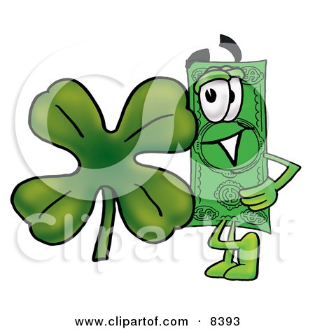 Clipart Picture of a Dollar Bill Mascot Cartoon Character With a Green Four Leaf Clover on St Paddy's or St Patricks Day by Toons4Biz