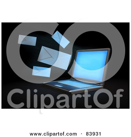 Royalty-Free (RF) Clipart Illustration of a 3d Laptop Sending Out Email Envelopes by Mopic