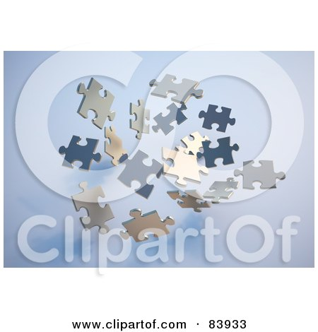 Royalty-Free (RF) Clipart Illustration of Floating 3d Puzzle Pieces Over Blue by Mopic