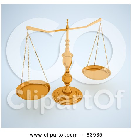 Royalty-Free (RF) Clipart Illustration of 3d Golden Scales On A Shaded Background by Mopic