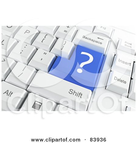Royalty-Free (RF) Clipart Illustration of a 3d Blue Question Mark Button On A Computer Keyboard by Mopic