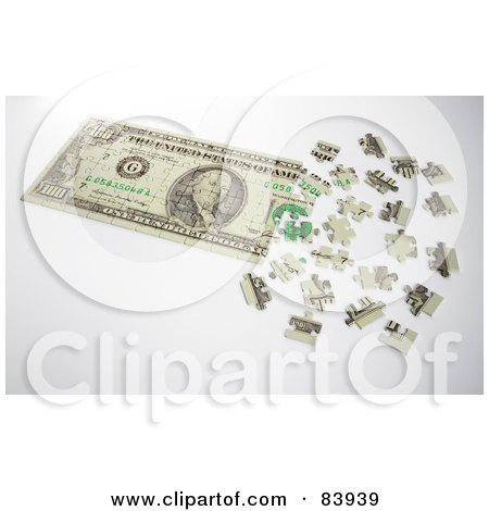 Royalty-Free (RF) Clipart Illustration of a 3d Dollar Puzzle Partially Assembled by Mopic