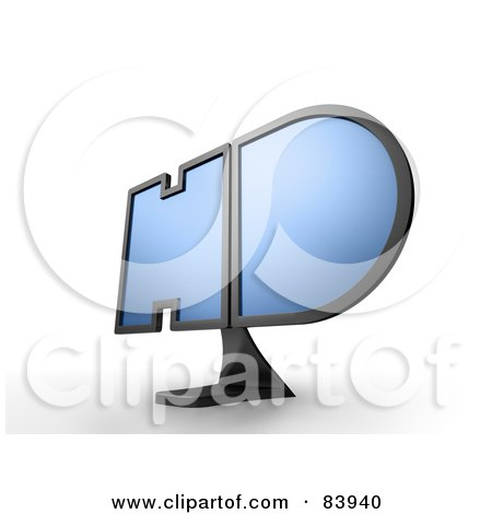Royalty-Free (RF) Clipart Illustration of a 3d HD Shaped Television Monitor by Mopic