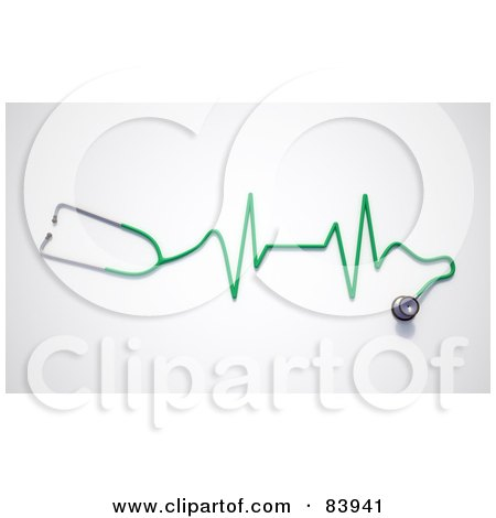 Royalty-Free (RF) Clipart Illustration of a 3d Green Stethoscope With A Graph by Mopic