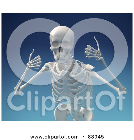 Royalty-Free (RF) Clipart Illustration of a 3d Human Skeleton Smiling And Holding Two Thumbs Up Over Blue by Mopic