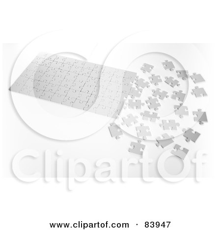 Royalty-Free (RF) Clipart Illustration of a Blank White Partially Assembled Puzzle by Mopic