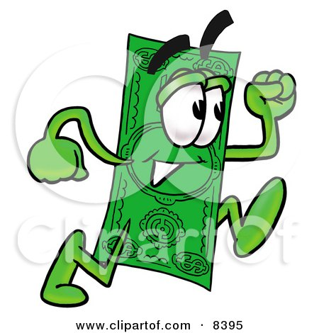 Clipart Picture of a Dollar Bill Mascot Cartoon Character Running by Toons4Biz