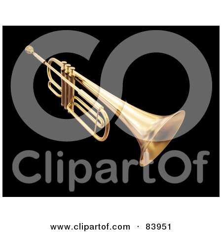 Royalty-Free (RF) Clipart Illustration of a 3d Gold Trumpet by Mopic