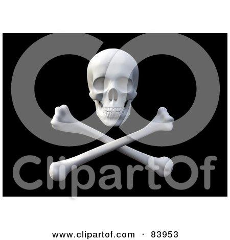 3d Pirate Skull Over Crossbones On Black Posters, Art Prints