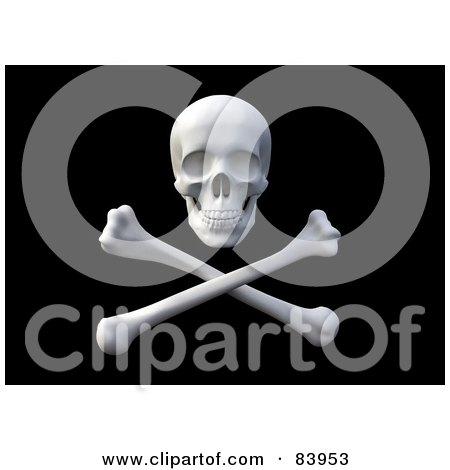 Royalty-Free (RF) Clipart Illustration of a 3d Pirate Skull Over Crossbones On Black by Mopic