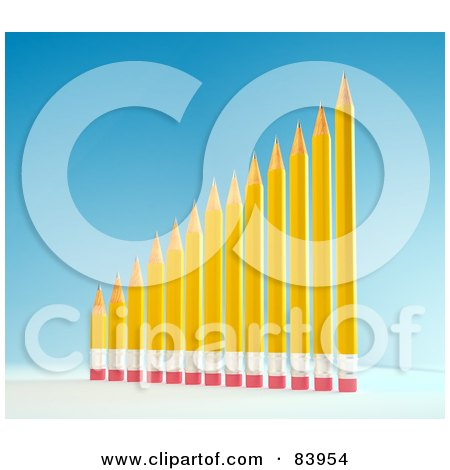 Royalty-Free (RF) Clipart Illustration of a 3d Bar Graph Of Yellow Pencils Showing Growth by Mopic