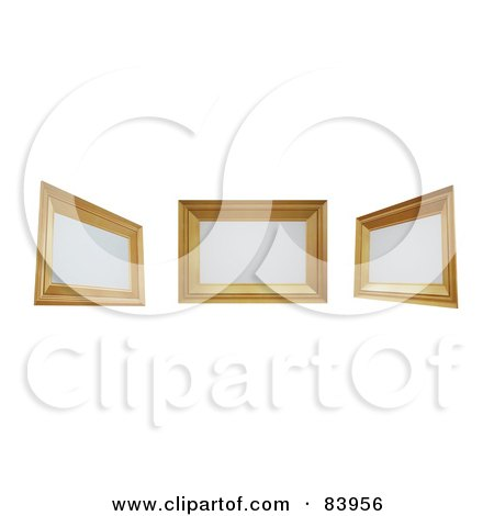 Royalty-Free (RF) Clipart Illustration of Three 3d Wooden Frames With Blank Spaces by Mopic