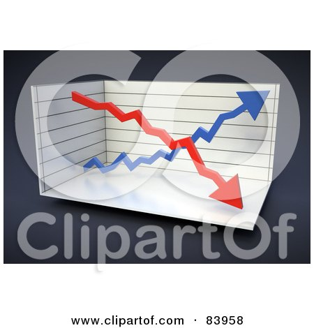 Royalty-Free (RF) Clipart Illustration of a 3d Double Arrow Graph in a Box Over Gray by Mopic