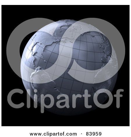Royalty-Free (RF) Clipart Illustration of a 3d Globe Made Of Steel Over Black by Mopic