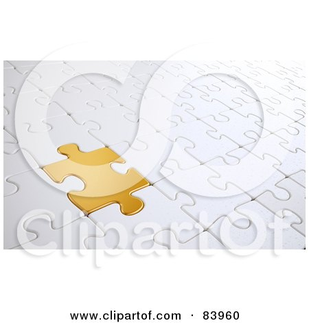 Royalty-Free (RF) Clipart Illustration of a Golden Puzzle Piece Completing A Whiter Puzzle by Mopic