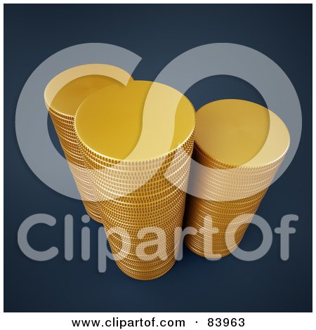 Royalty-Free (RF) Clipart Illustration of Three 3d Stacks Of Gold Coins by Mopic