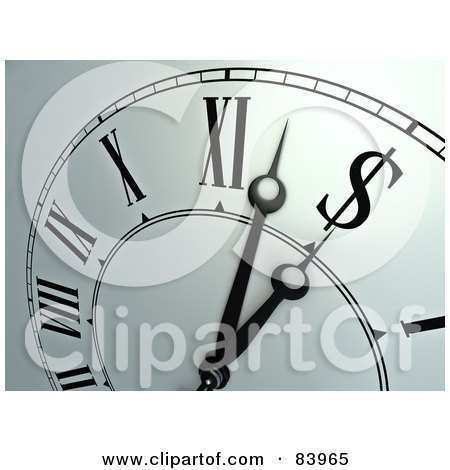 Royalty-Free (RF) Clipart Illustration of a Closeup Of A Wall Clock Ticking Towards A Dollar Symbol by Mopic
