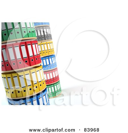 Royalty-Free (RF) Clipart Illustration of 3d Towers Of Colorful Organized Binders by Mopic