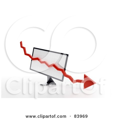 Royalty-Free (RF) Clipart Illustration of a Red 3d Decline Arrow Over A Computer Screen by Mopic