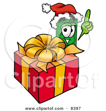 Clipart Picture of a Dollar Bill Mascot Cartoon Character Standing by a Christmas Present by Toons4Biz