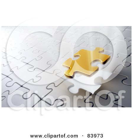 Royalty-Free (RF) Clipart Illustration of a Golden Puzzle Piece Lowering To Complete A Silver Puzzle. by Mopic