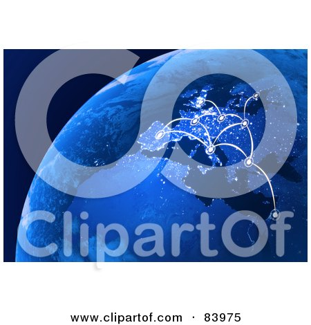 Royalty-Free (RF) Clip Art Illustration of a 3d Blue Globe With European Connections by Mopic