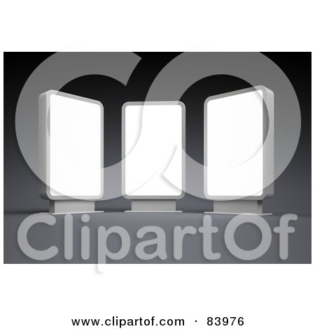 Royalty-Free (RF) Clipart Illustration of Three 3d Blank Displays On Gray by Mopic