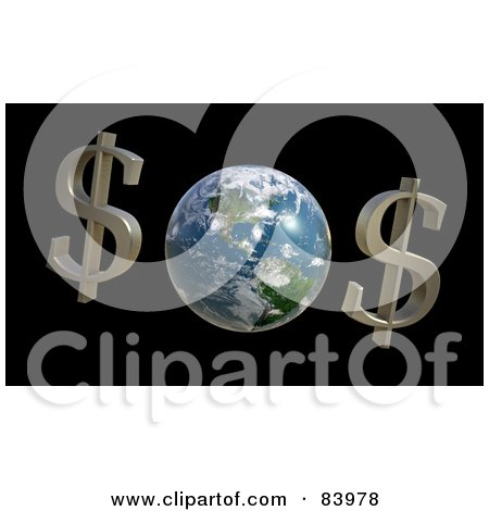 Royalty-Free (RF) Clipart Illustration of Two Dollar Symbols By Planet Earth by Mopic