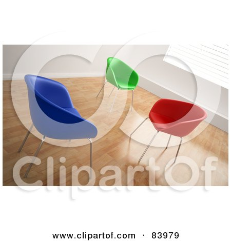 Royalty-Free (RF) Clipart Illustration of Three Blue, Green And Red 3d Seats In A Sunny Room With Wood Floors by Mopic