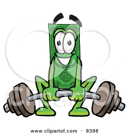 Clipart Picture of a Dollar Bill Mascot Cartoon Character Lifting a Heavy Barbell by Toons4Biz