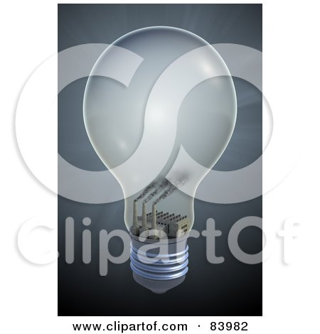 Royalty-Free (RF) Clipart Illustration of a 3d Factory Emitting Smog Inside Of A Light Bulb, On A Gray Background by Mopic
