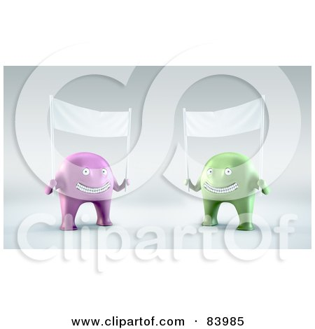 Royalty-Free (RF) Clipart Illustration of Two 3d Purple And Green Aliens Holding Up Blank Banners by Mopic