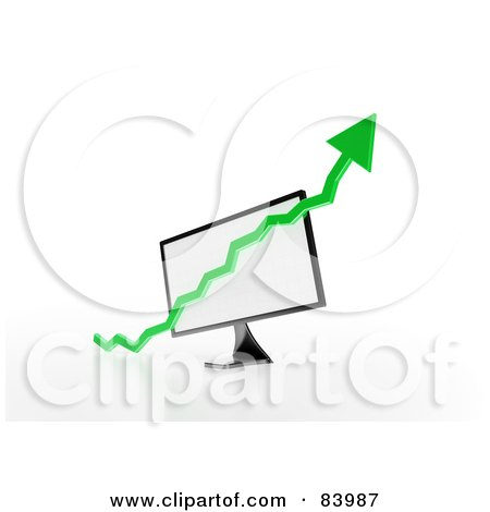 Royalty-Free (RF) Clipart Illustration of a Green 3d Up Arrow Over A Computer Screen by Mopic